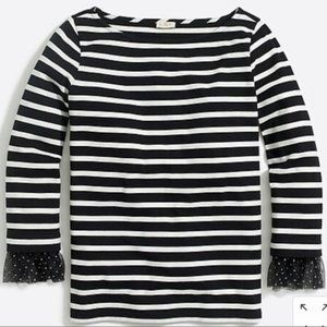 J. Crew Long-Sleeve Striped Top With Tulle Cuff